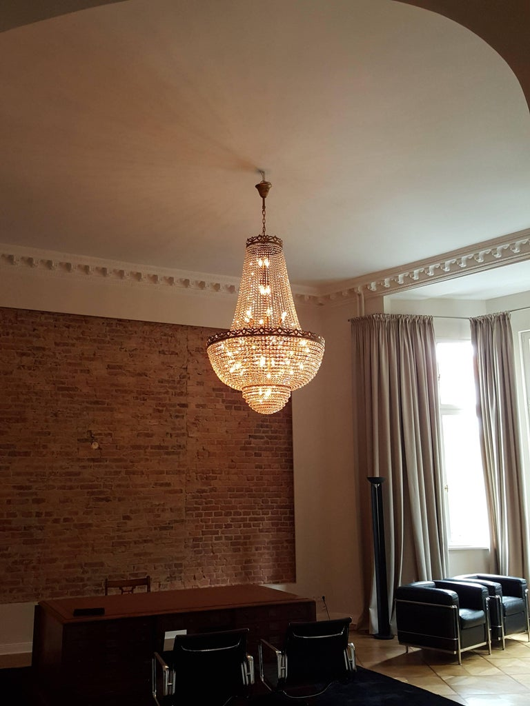 Crystal Chandelier Empire Sac a Pearl Big Large Palace Lamp Chateau Lustre For Sale 1