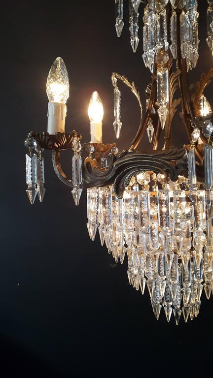 Kristallkronleuchter Alte Deckenlampe Messing Lüster Lichter, 1940er 3