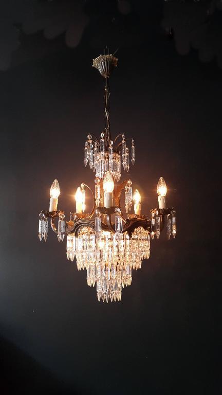 Kristallkronleuchter Alte Deckenlampe Messing Lüster Lichter, 1940er 5