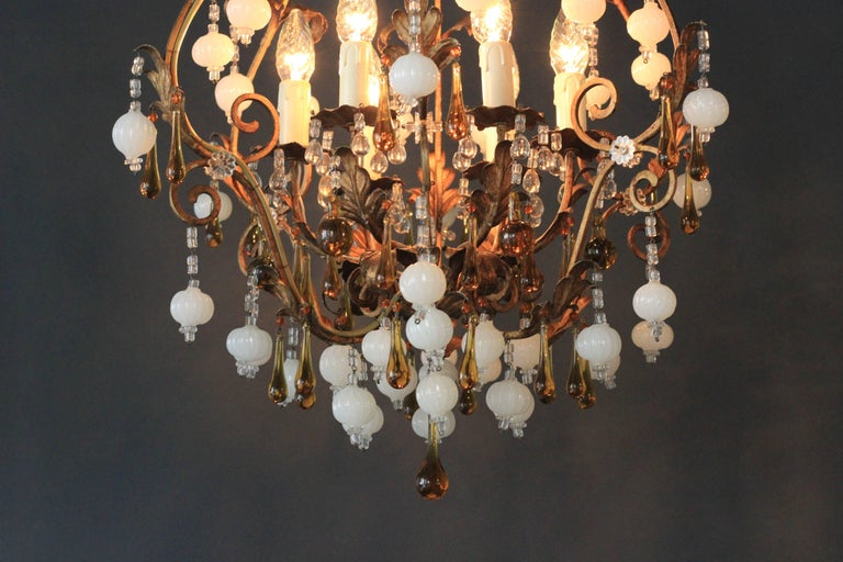 Special Murano Crystal Chandelier White and Brown Colorful Amber Lustré Cage  Total height: 90cm height without chain: 80cm diameter: 55cm weight (approximately): 7kg.  Number of lights: Six light bulb sockets: E14   New electricity! New cable! New