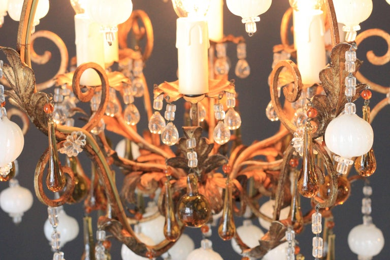 Romantic Special Murano Crystal Chandelier White and Brown Colorful Amber Lustré Cage For Sale