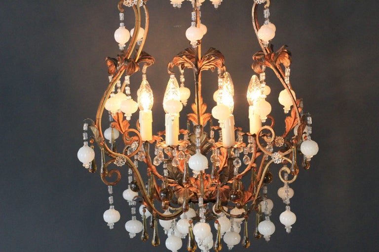 Italian Special Murano Crystal Chandelier White and Brown Colorful Amber Lustré Cage For Sale