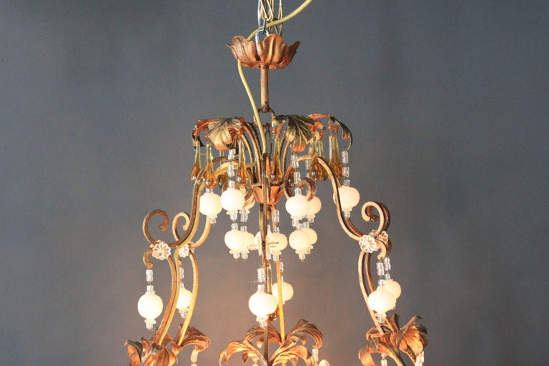 Hand-Knotted Special Murano Crystal Chandelier White and Brown Colorful Amber Lustré Cage For Sale