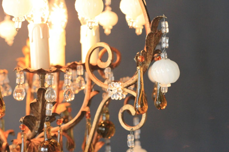 Special Murano Crystal Chandelier White and Brown Colorful Amber Lustré Cage In Good Condition For Sale In Berlin, DE