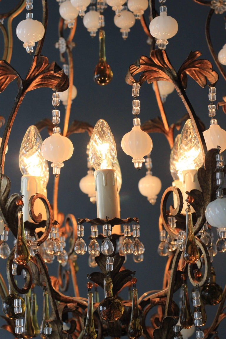 Mid-20th Century Special Murano Crystal Chandelier White and Brown Colorful Amber Lustré Cage For Sale