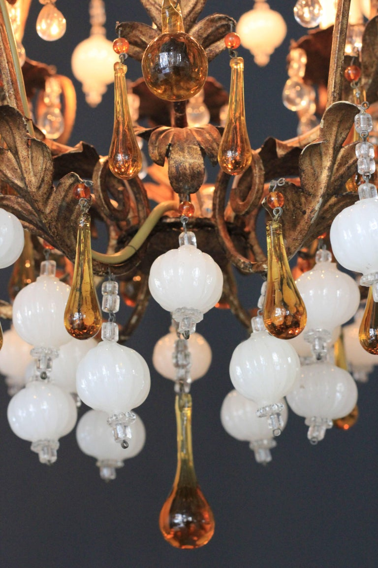 Special Murano Crystal Chandelier White and Brown Colorful Amber Lustré Cage For Sale 1