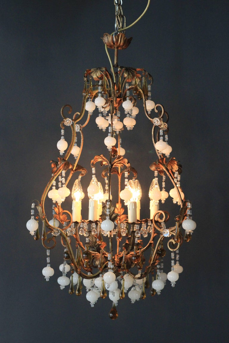 Special Murano Crystal Chandelier White and Brown Colorful Amber Lustré Cage For Sale 3