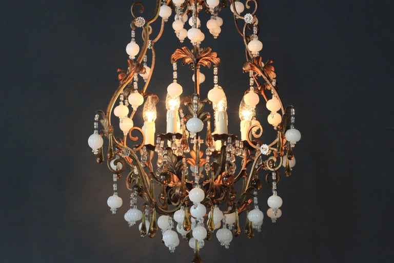 Special Murano Crystal Chandelier White and Brown Colorful Amber Lustré Cage For Sale 2
