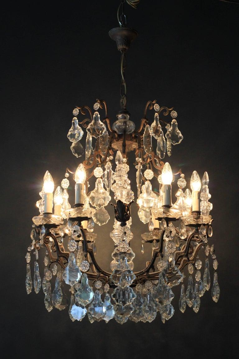 Kristallkronleuchter Lüster Antik Messing Deckenlampe, Rarität 2