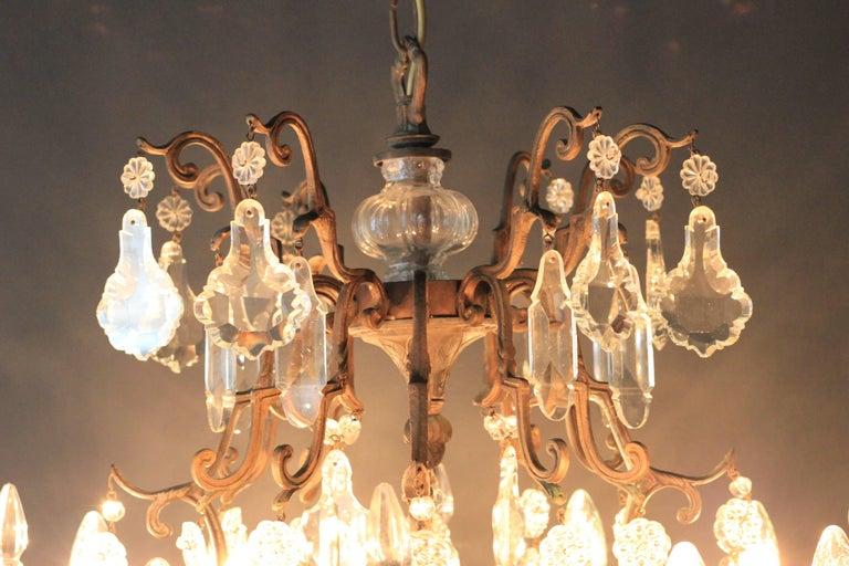Kristallkronleuchter Lüster Antik Messing Deckenlampe, Rarität 5
