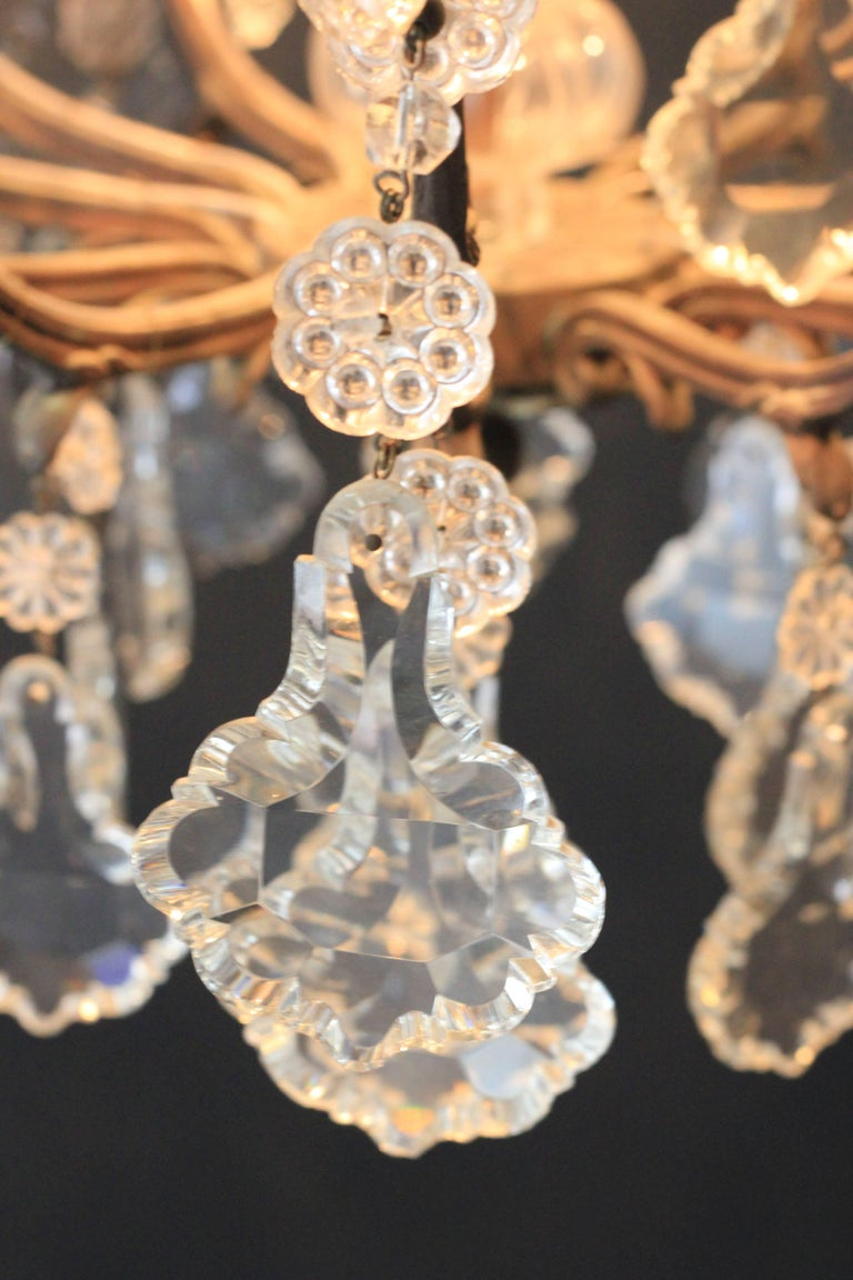 Kristallkronleuchter Lüster Antik Messing Deckenlampe, Rarität 7