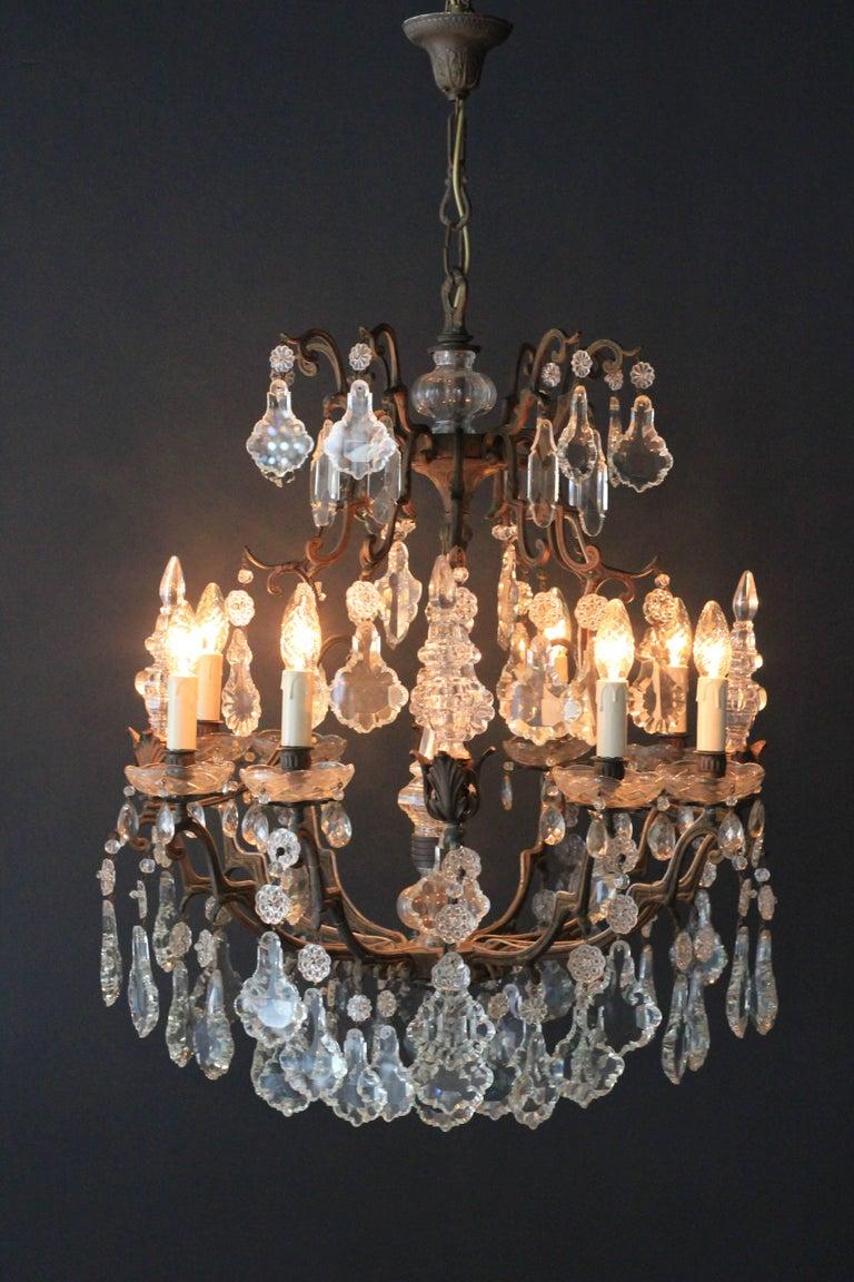 Kristallkronleuchter Lüster Antik Messing Deckenlampe, Rarität 9