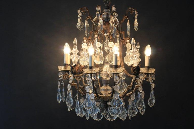 Kristallkronleuchter Lüster Antik Messing Deckenlampe, Rarität 10