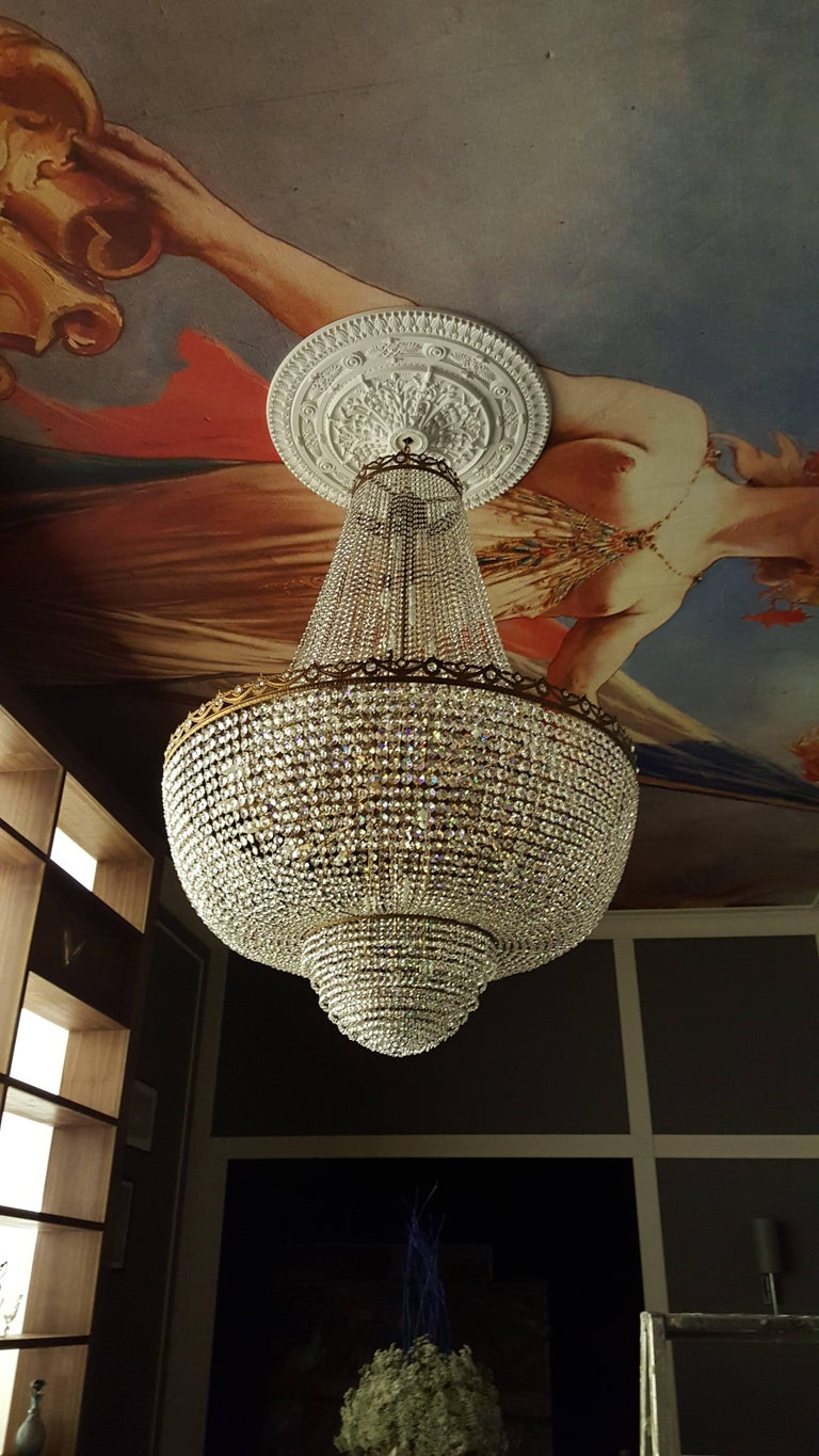 Crystal Chandelier Empire Sac a Pearl Big Large Palace Lamp Chateau Lustre For Sale 2
