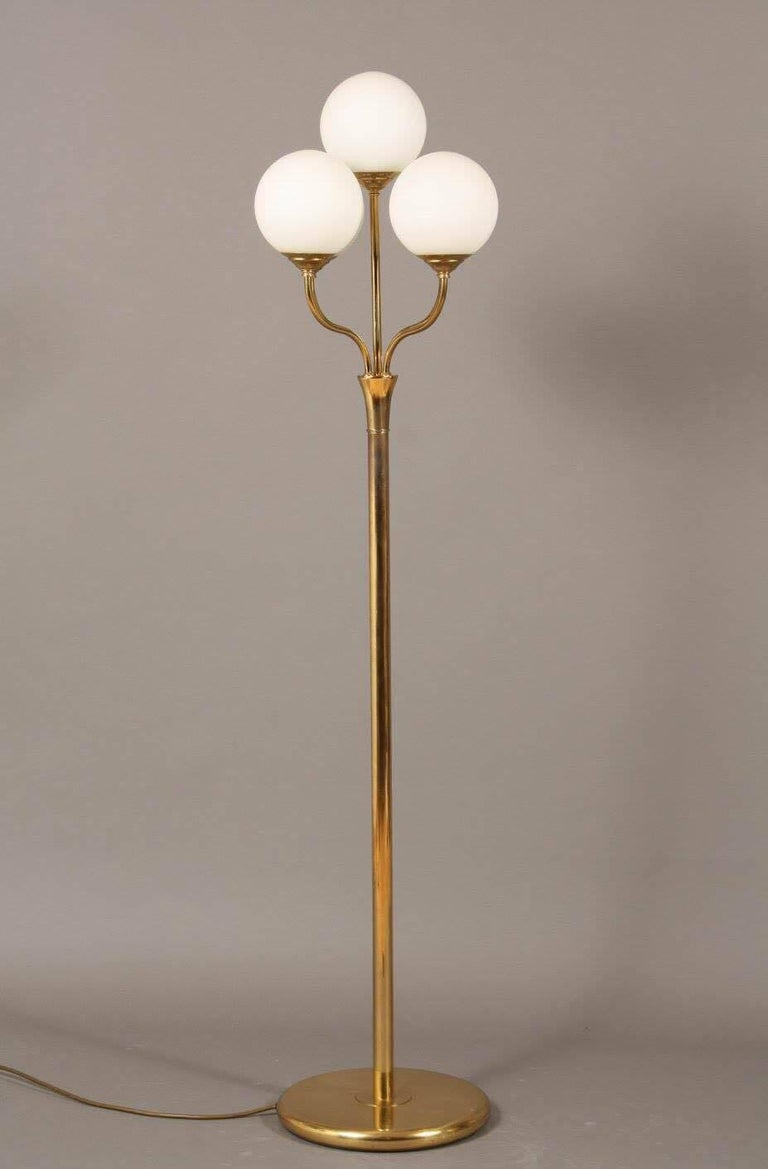 Five Globe Light Floor Lamp In Brass And Glass At 1stdibs