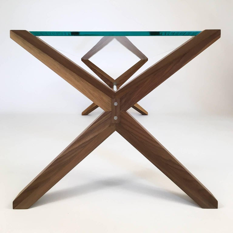 Stay Table, Contemporary Walnut And Glass Architectural