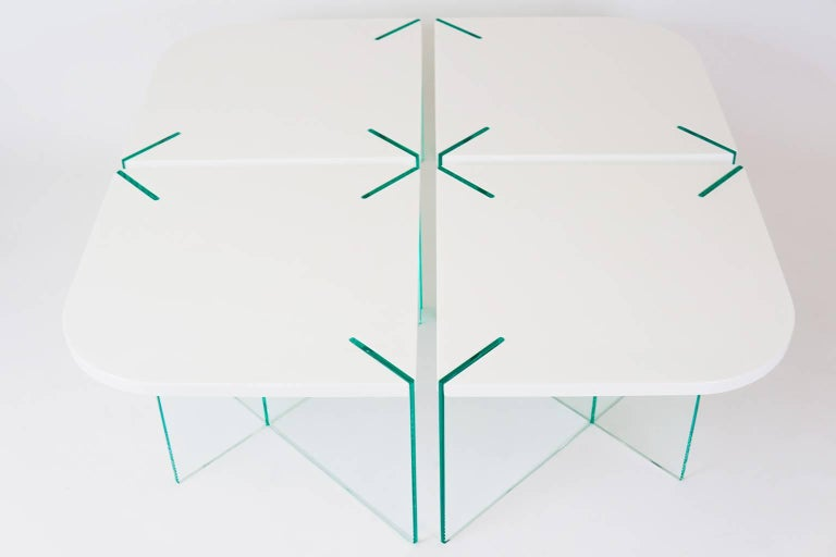 Radius Table, Contemporary Marble and Glass Coffee Table 2