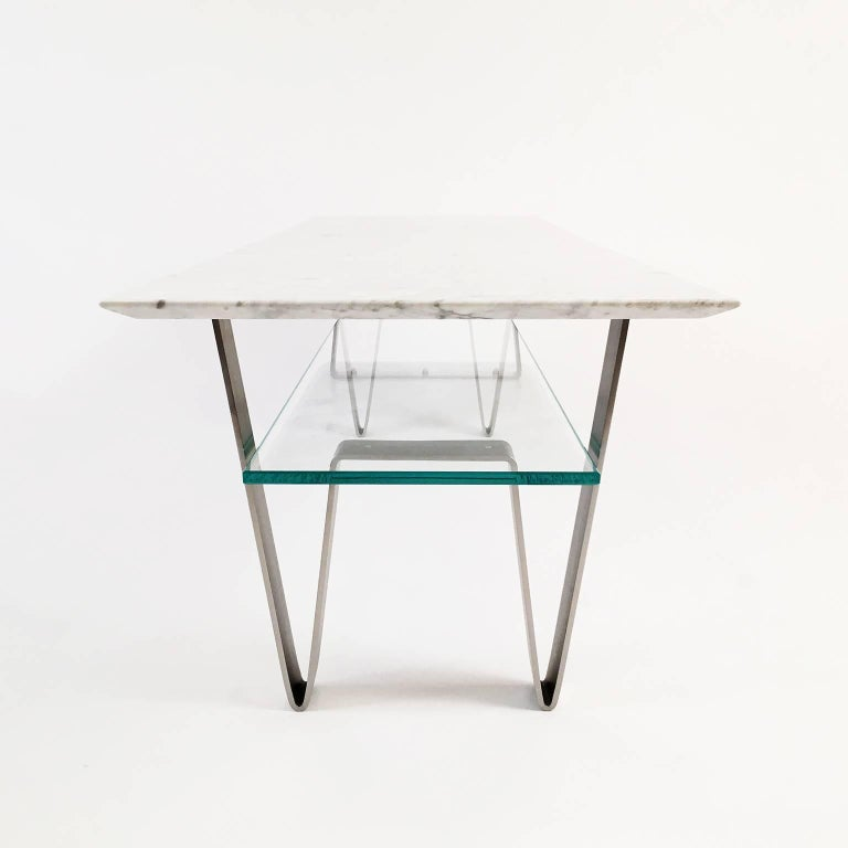 Zaza Table Contemporary Carrara Marble Stainless Steel And Glass Coffee Table For Sale At 1stdibs