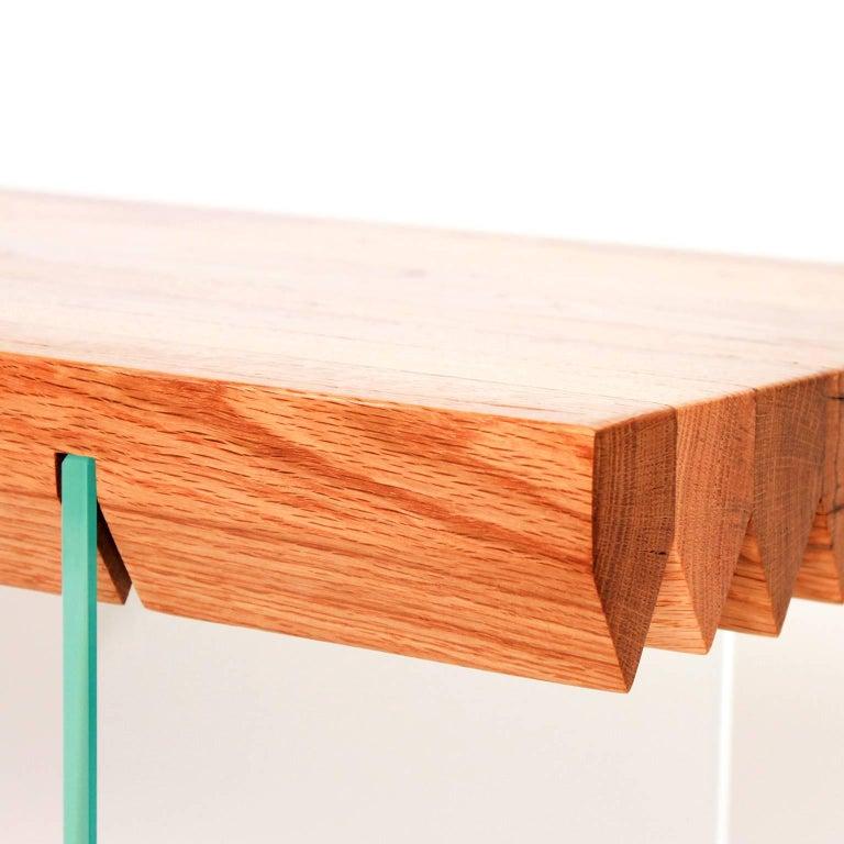 Sawtooth bench reclaimed oak barn board and glass
