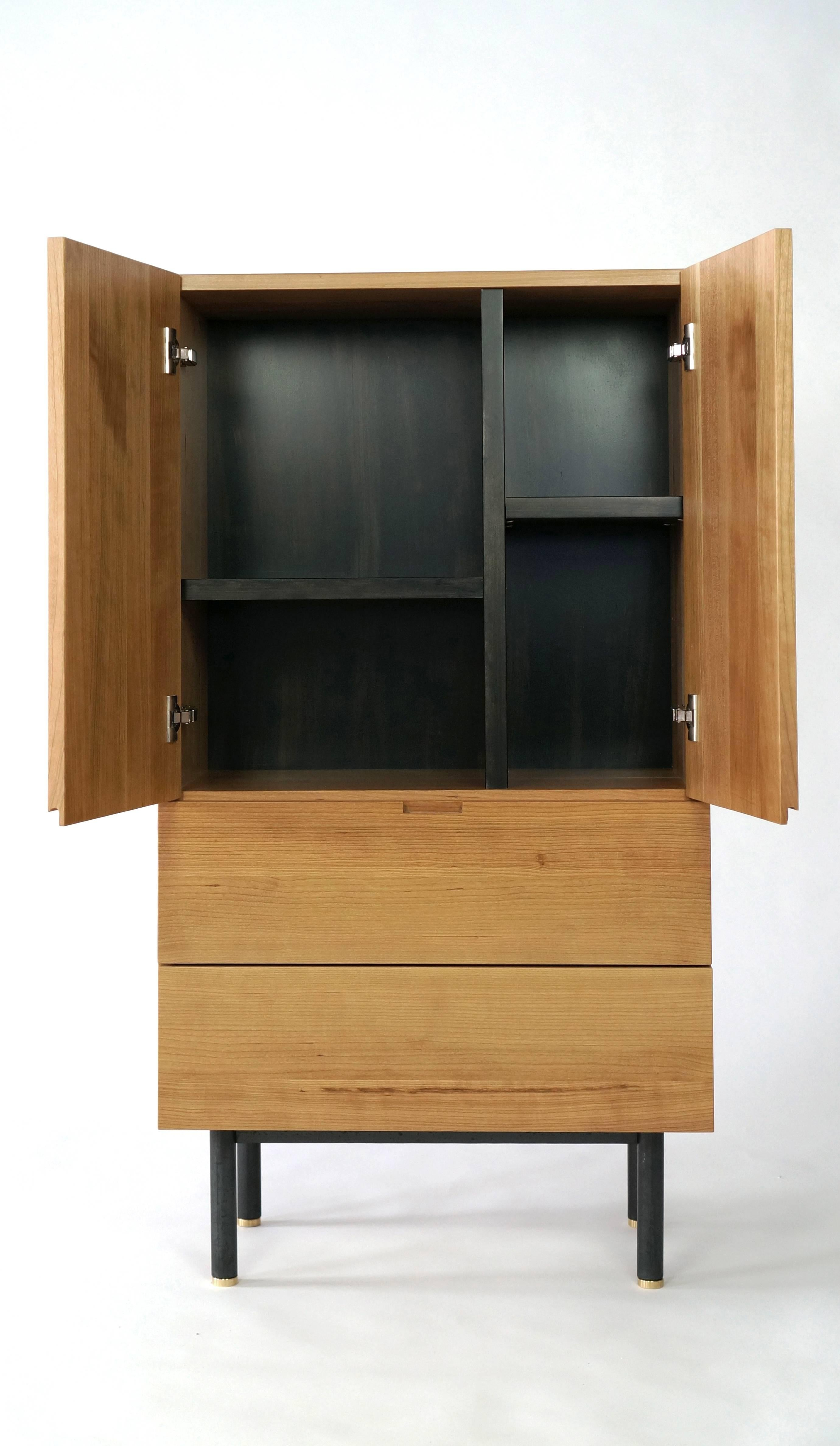 Ratio Contemporary Cherry Bar Cabinet In Excellent Condition For Sale In  Oakland, CA
