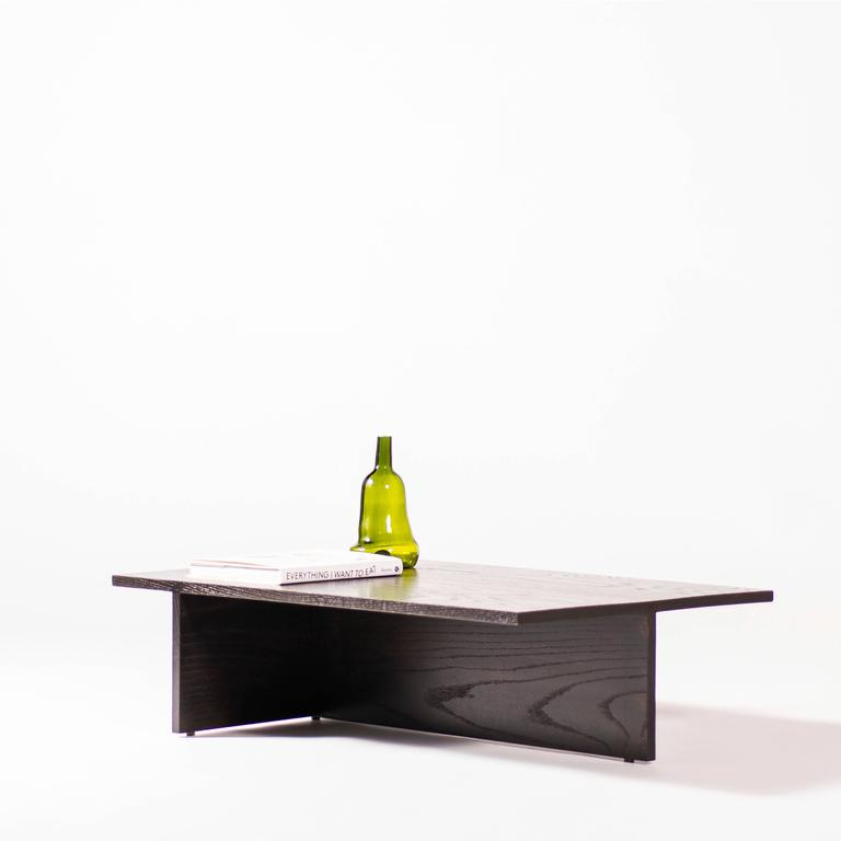 Low Minimal Coffee Table In Black Lacquered Oak For Sale At 1stdibs