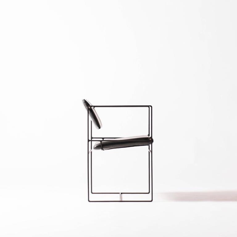 Lounge Pivot Chair in Laser-Cut Steel Frame and Leather Seat 2