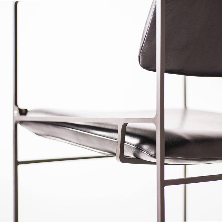 Lounge Pivot Chair in Laser-Cut Steel Frame and Leather Seat 4