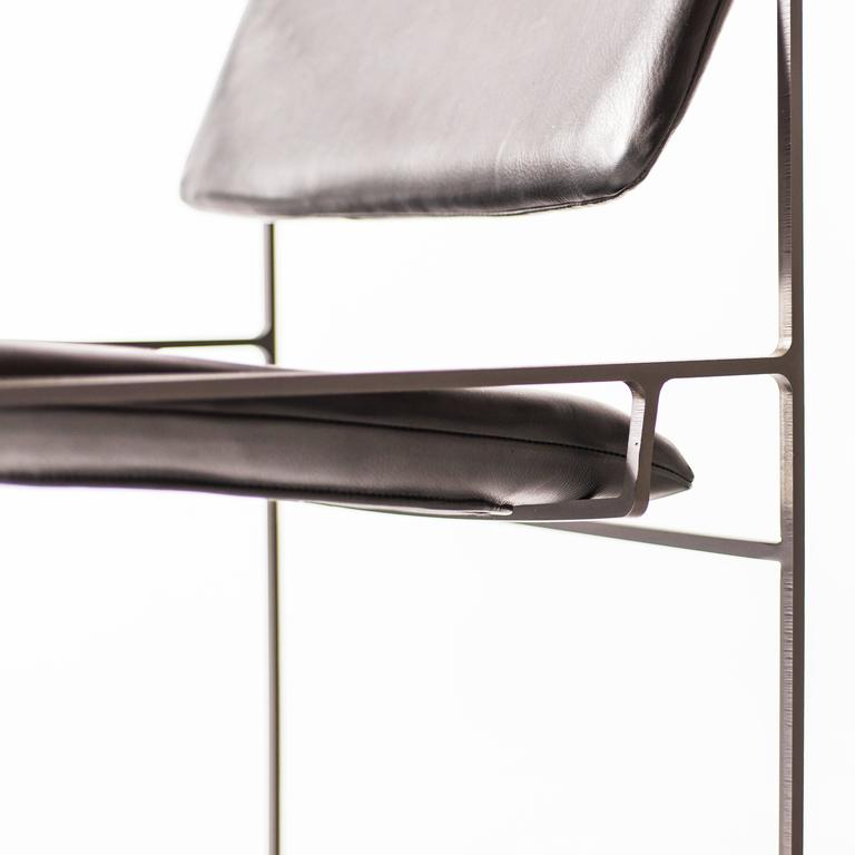Lounge Pivot Chair in Laser-Cut Steel Frame and Leather Seat 7