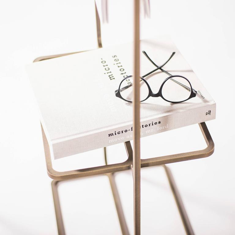 American Minimal Magazine Rack in Laser-Cut Antiqued Brass For Sale
