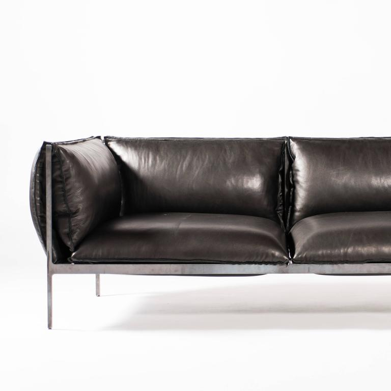 Modern Double-Seat Sofa in Milled Black Leather and Oiled Laser-Cut Steel For Sale