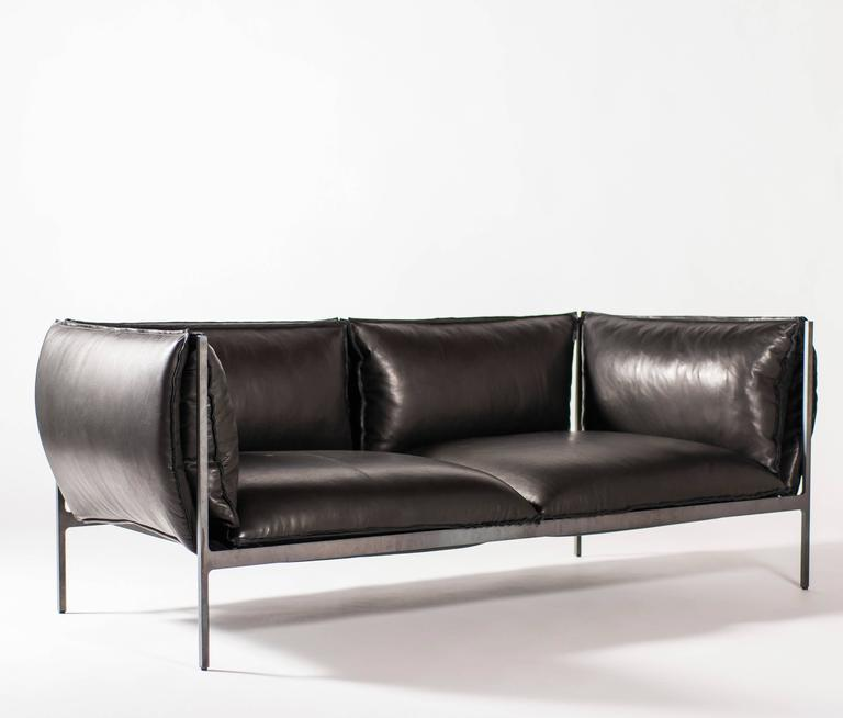 Double-Seat Sofa in Milled Black Leather and Oiled Laser-Cut Steel 2