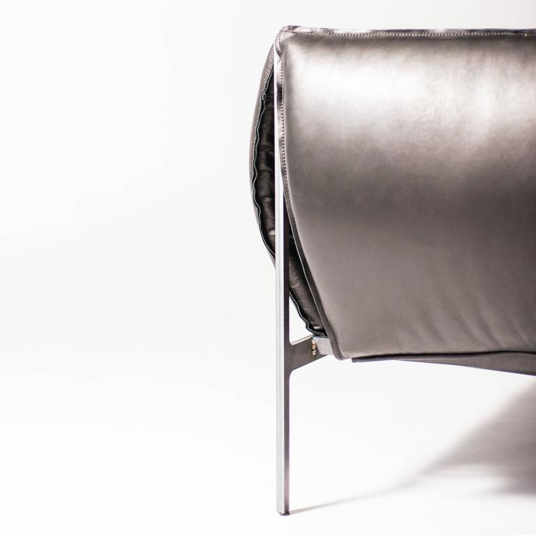 Double-Seat Sofa in Milled Black Leather and Oiled Laser-Cut Steel 4