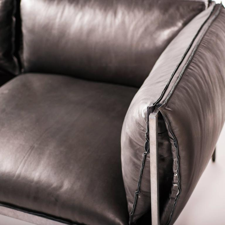 Double-Seat Sofa in Milled Black Leather and Oiled Laser-Cut Steel 7