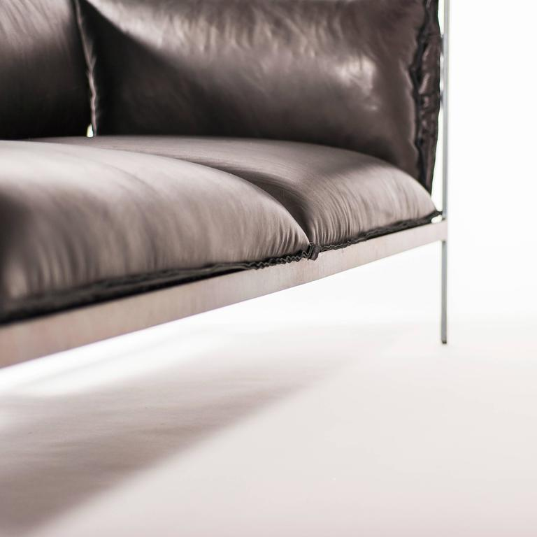 Double-Seat Sofa in Milled Black Leather and Oiled Laser-Cut Steel For Sale 2
