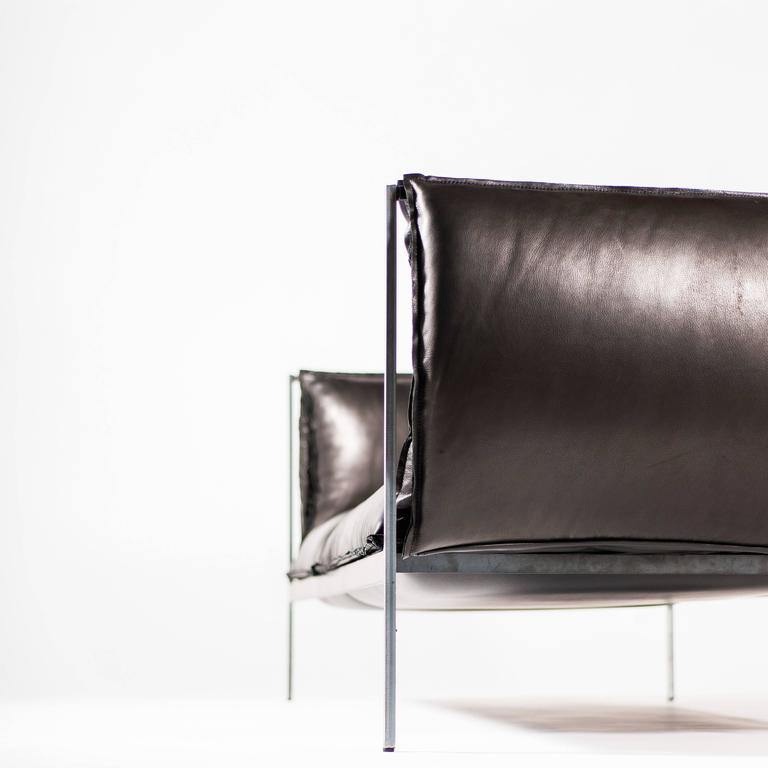 Double-Seat Sofa in Milled Black Leather and Oiled Laser-Cut Steel For Sale 3