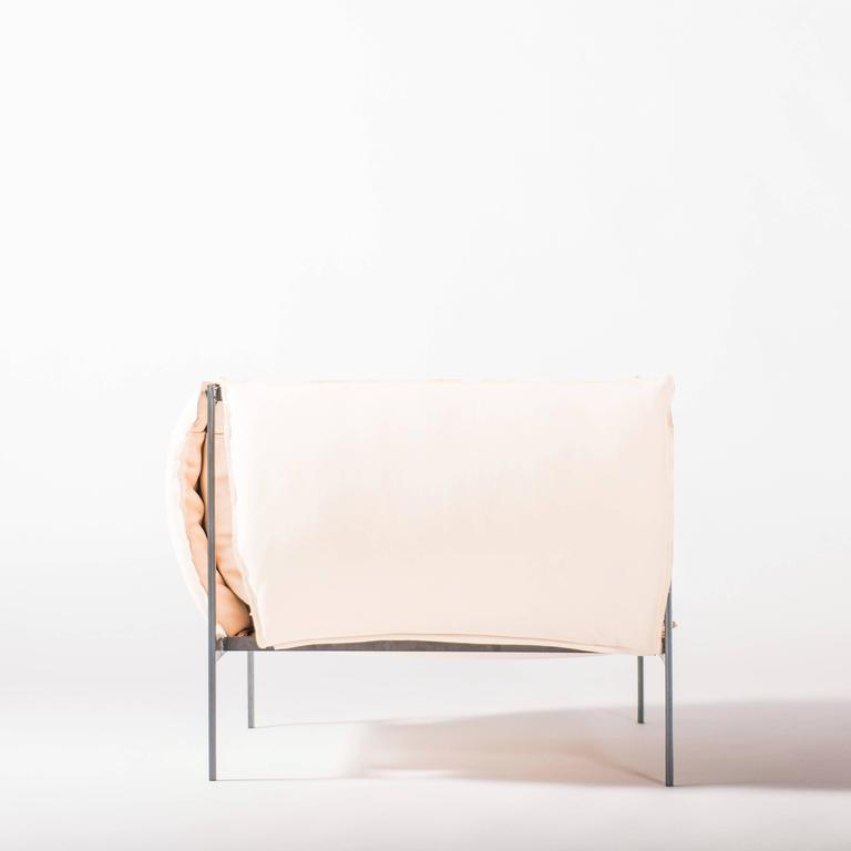 Armchair in Vegetable Tanned Leather and Oiled Laser-Cut Steel 3