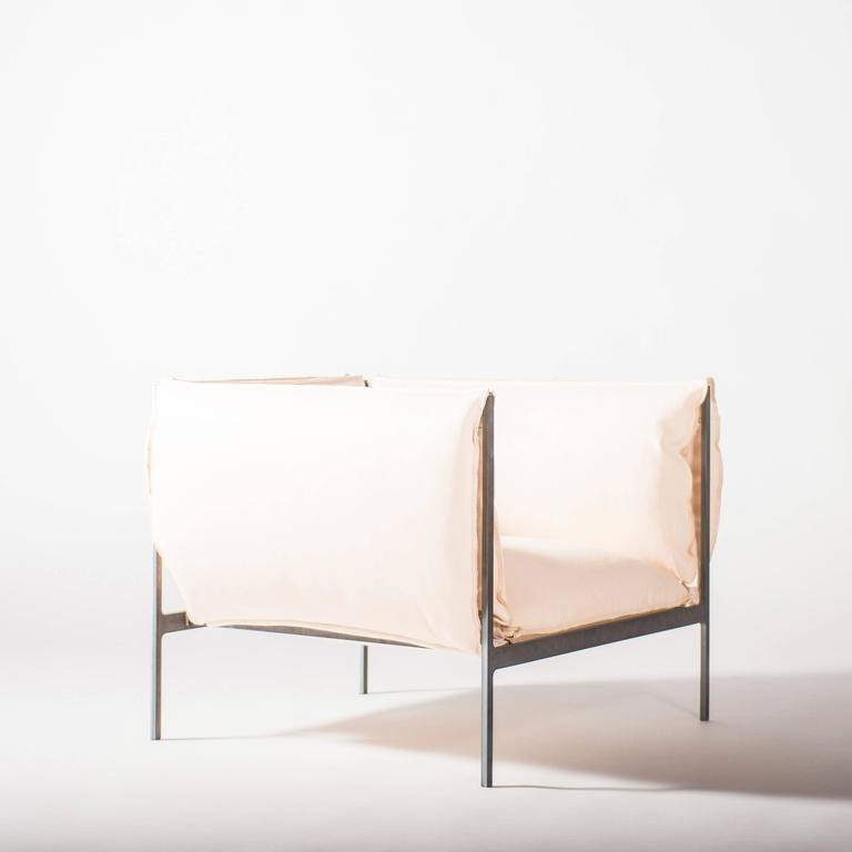 Armchair in Vegetable Tanned Leather and Oiled Laser-Cut Steel 2