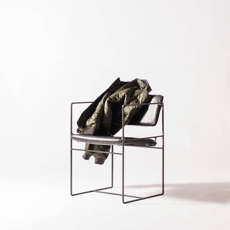 Lounge Pivot Chair in Laser-Cut Steel Frame and Leather Seat 8