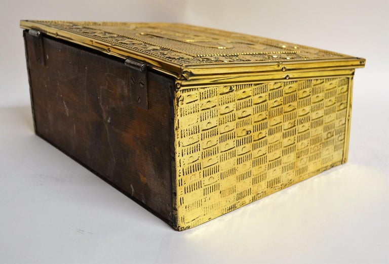 19th Century Antique English Brass Slipper Box For Sale