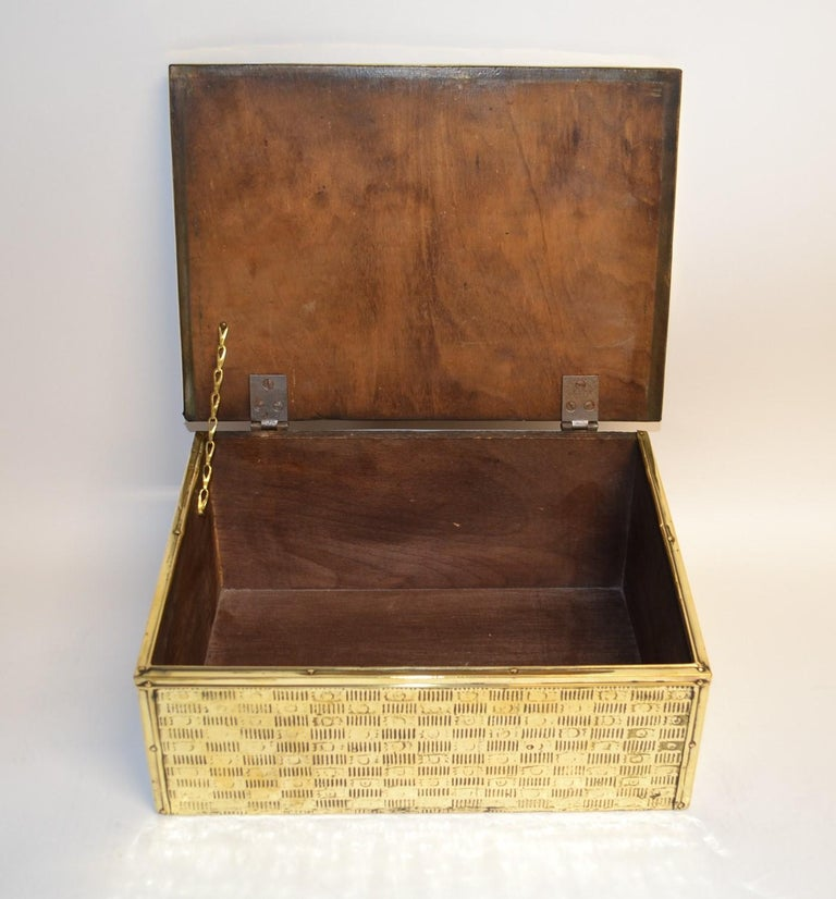 Antique English Brass Slipper Box For Sale 1