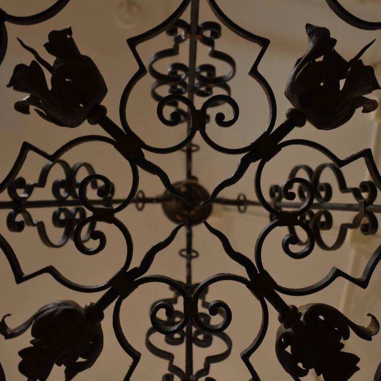 Antique French Wrought Iron Eight Light Fixture with Floral Detail In Good Condition For Sale In New Orleans, LA