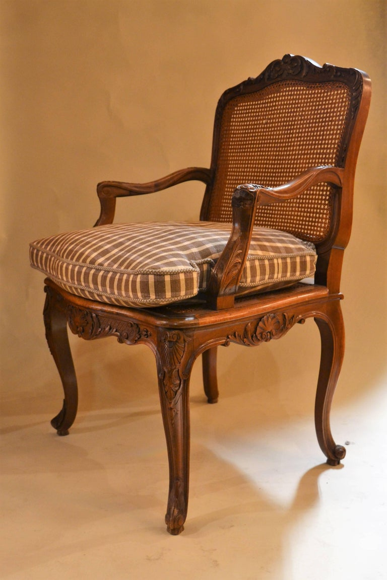 Antique French Carved Walnut Caned Desk Chair For Sale At
