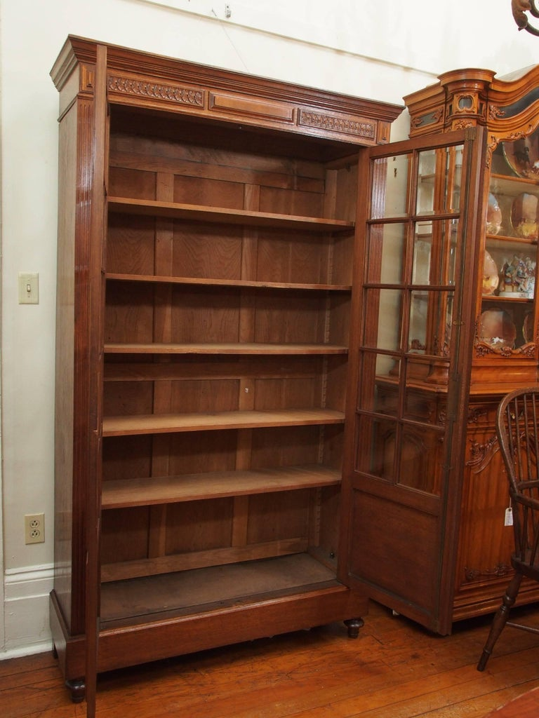 antique french oak beveled armoire or biblioth que for sale at 1stdibs. Black Bedroom Furniture Sets. Home Design Ideas