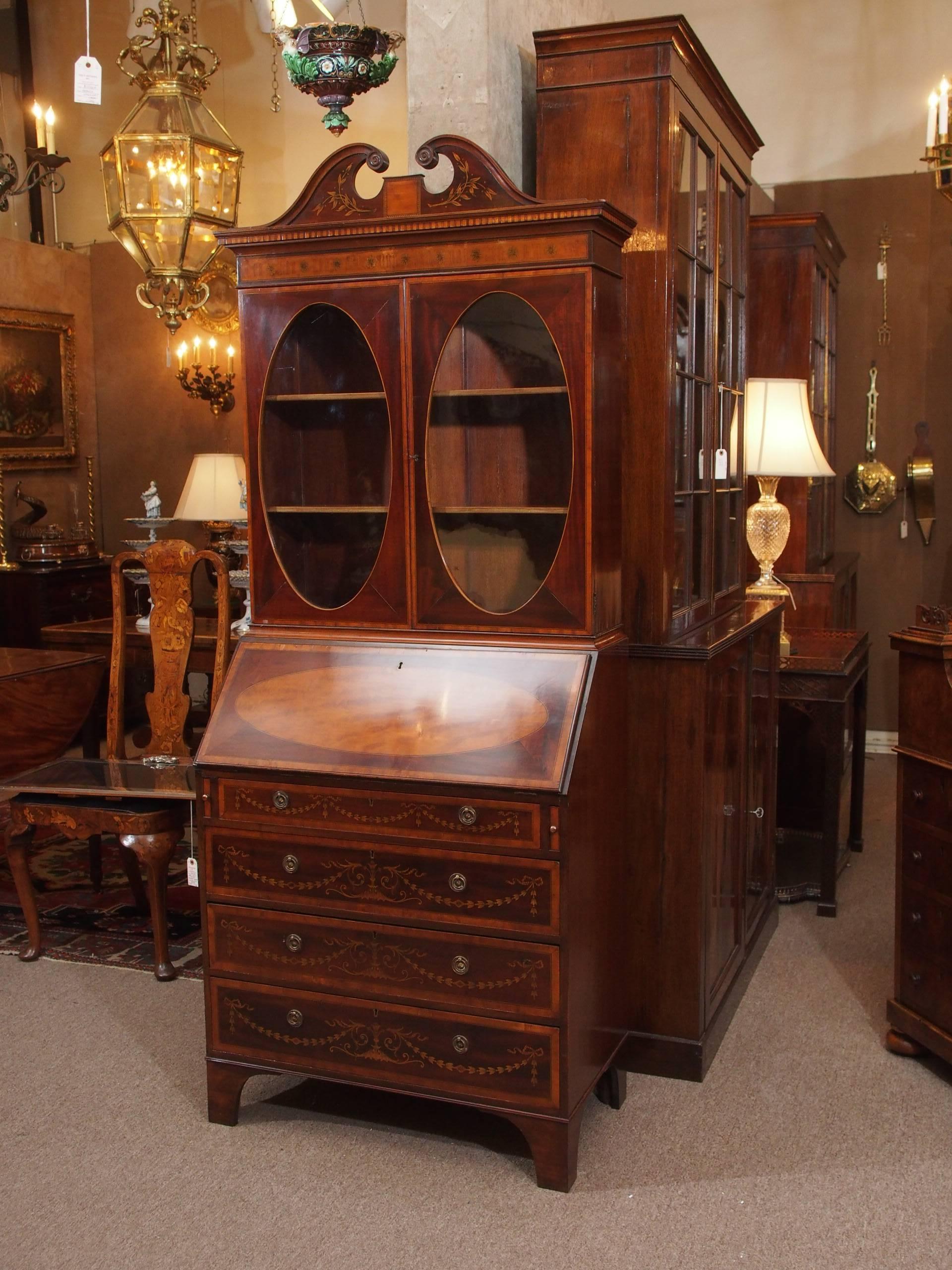 Antique English Edwardian Era Mahogany Secretary Desk 2