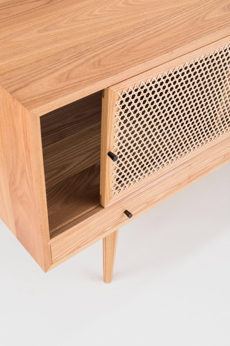 American Tinselor Cabinet by Tretiak Works, Elm Credenza with Handcrafted Cane Doors For Sale