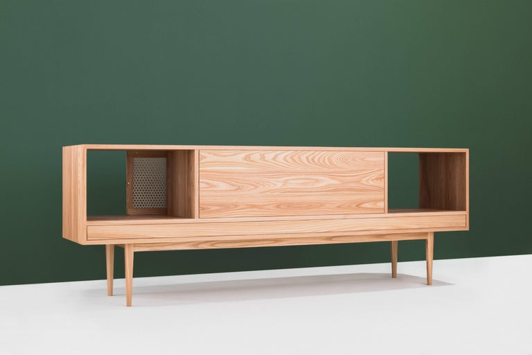 Contemporary Tinselor Cabinet by Tretiak Works, Elm Credenza with Handcrafted Cane Doors For Sale