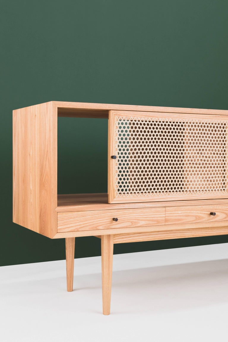 Tinselor Cabinet by Tretiak Works, Elm Credenza with Handcrafted Cane Doors In New Condition For Sale In Portland, OR