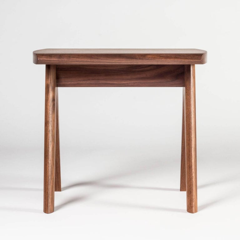 Modern Crest Stool by Tretiak Works, Contemporary Handmade Solid Wood Stool Walnut For Sale