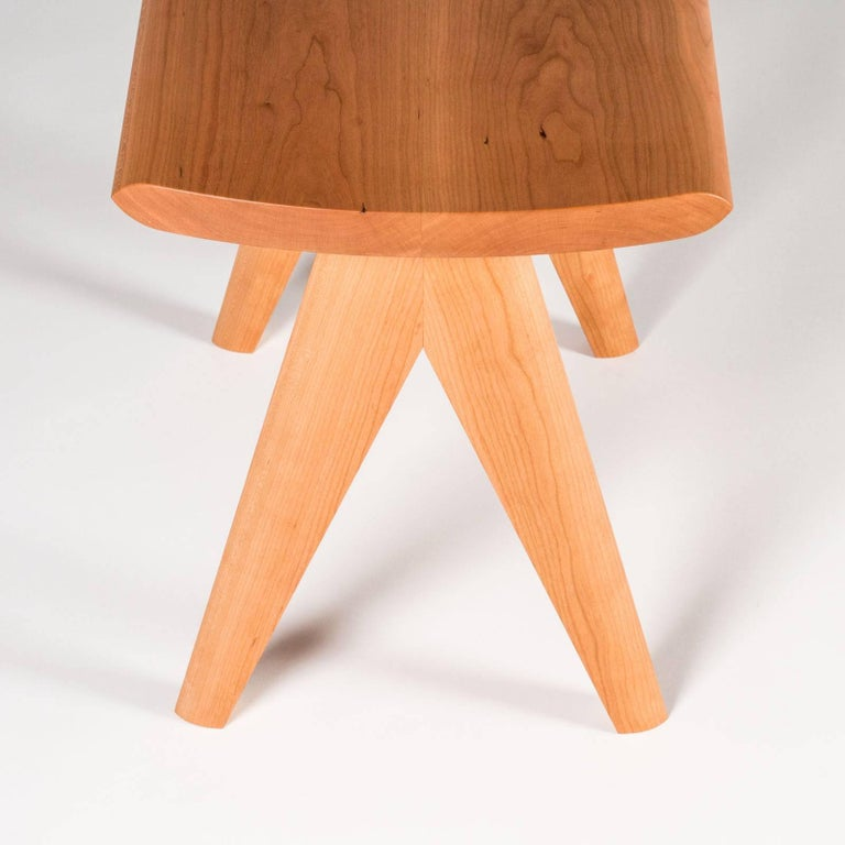 Woodwork Crest Stool by Tretiak Works, Contemporary Handmade Solid Wood Stool Walnut For Sale