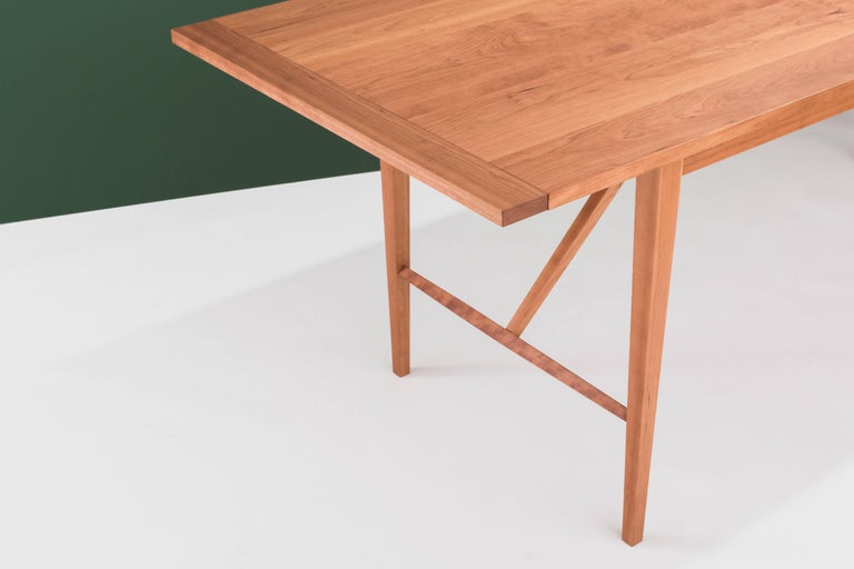Hill Dining Table by Tretiak Works, Handcrafted Solid Cherry Shaker In New Condition For Sale In Portland, OR